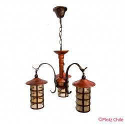 colgante madera maciza 3 luces vidrio ambar