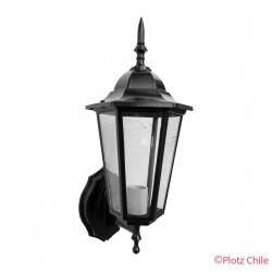 farol hexagonal negro 6 caras de pared