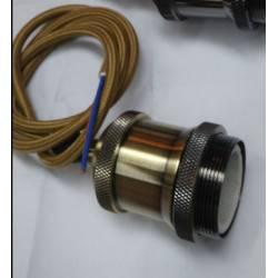 Colgante cable textil dorado con soquete metal envejecido E27