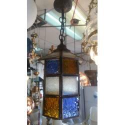 Lámpara de Colgar Vitral Cobre 1-Luz Pirámide con cinto