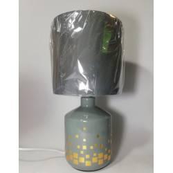 Velador cerámica gris con cuadrados dorados 1-L E27