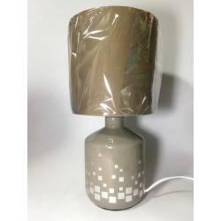 Velador cerámica café con cuadrados blancos 1-L E27