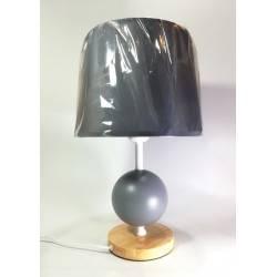 Lámpara de Velador Esfera 1-Luz E27 madera natural, altura total 40 cms, incluye pantalla gris