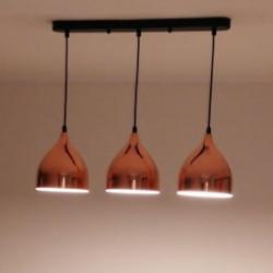 Colgante Helsinki 3-Luces E27 color cobre, conjunto 90 cms ancho