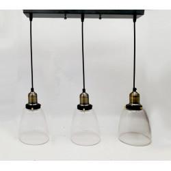 Colgante vintage vidrio Copa 3 Luces E27, ancho conjunto 75 cms